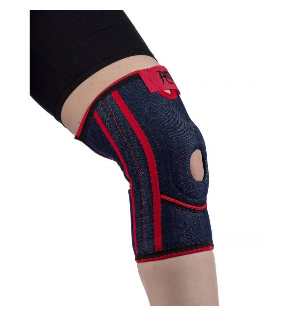 Orteza scurta de genunchi cu suport pentru rotula si ligamente, din jeans - Armor ARJ2102